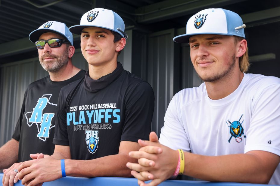 Varsity baseball coach Shaun Stanton, left, and players Brenner Cox and Josh Livingston pose for a portrait during an after-school practice at Rock Hill High School baseball field in Frisco on Wednesday, May 19, 2021. Their team is now in the region quarterfinals.