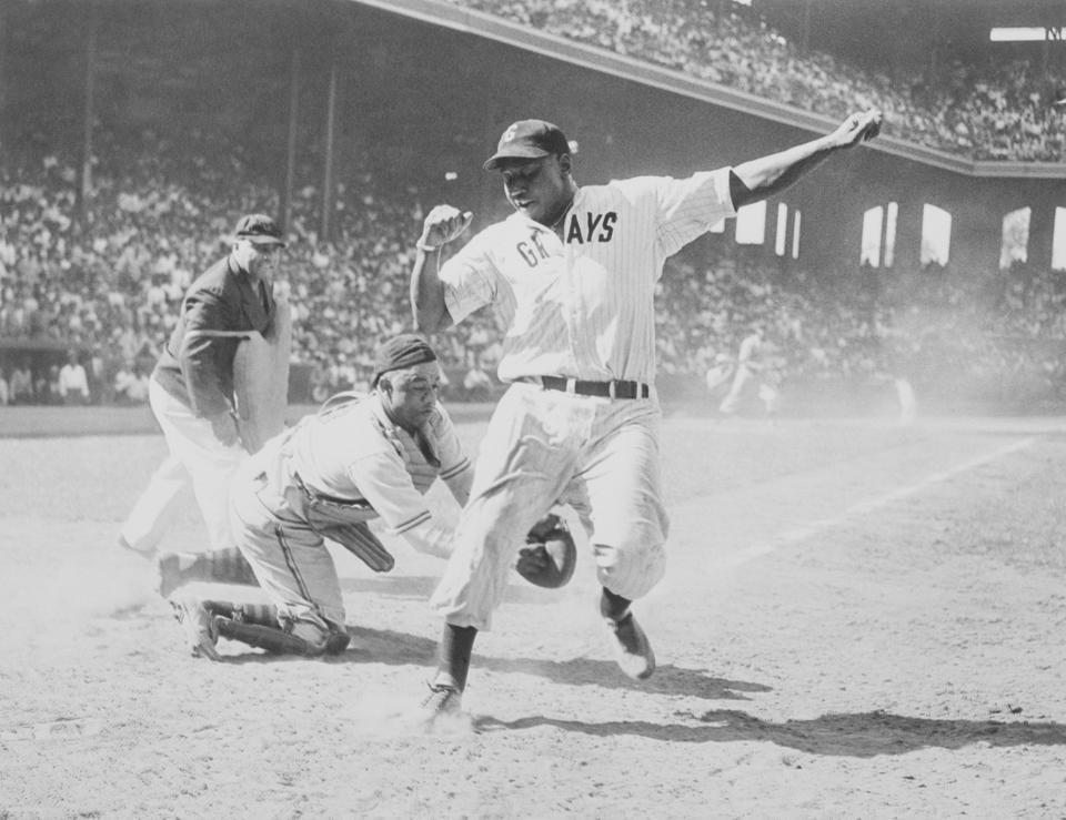 Josh Gibson is tagged at home