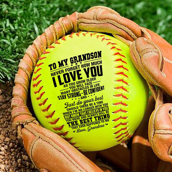 Grandma To My Grandson I Will Never Outgrow A Place In Your Heart – softball Birthday Graduation Christmas Gift.