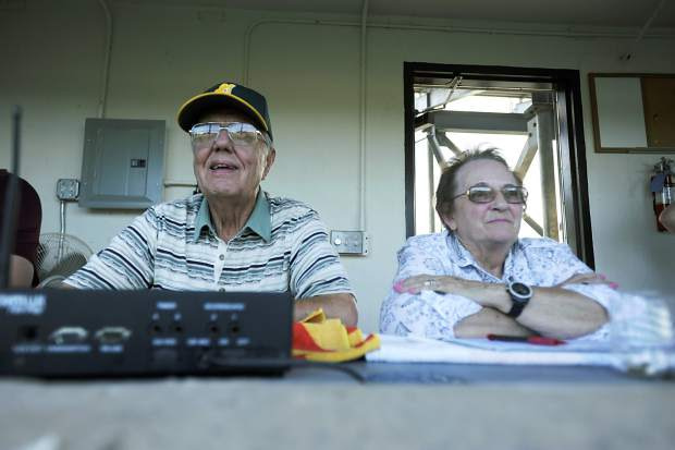 Bill and Glenna Huston watch Greeley GoJo Sports play a baseball game Friday during the Legion A state tournament at Butch Butler Field. Bill and Glenna's son, Mike Huston, is the head coach of GoJo's, but he will be leaving at the end of the season after 34 years.
