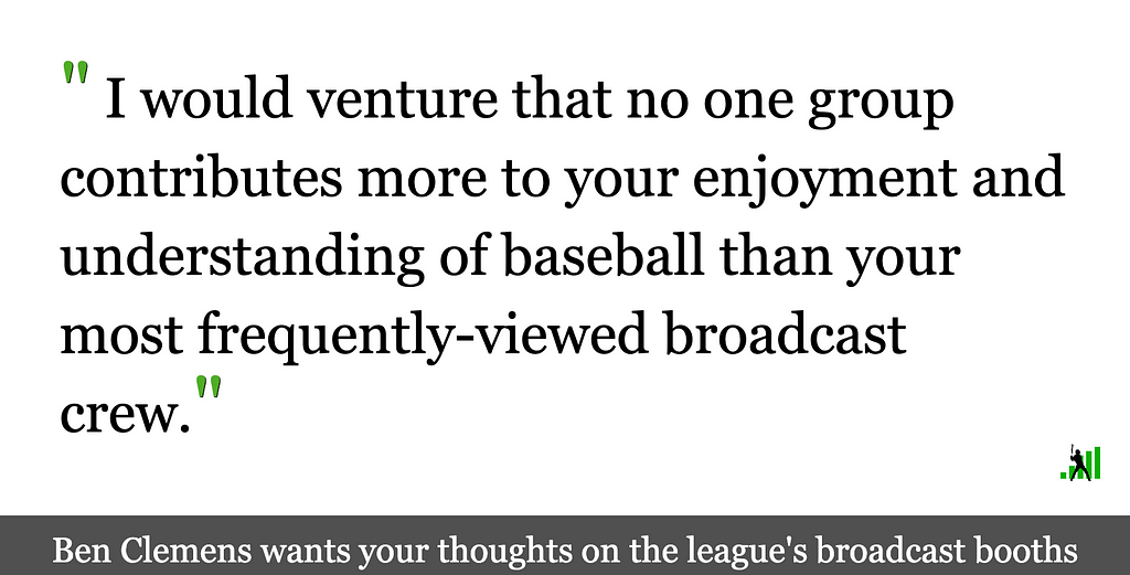 Crowdsourcing MLB Broadcasters, Part 1: The East