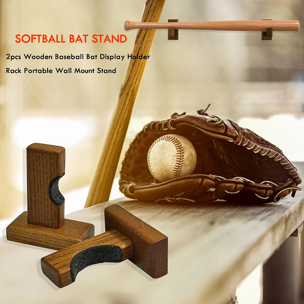2pcs Wall Mount Wooden Baseball Bat Display hanger Holder Stand Portable Softball Bat Hockey Stick Rack Bracket