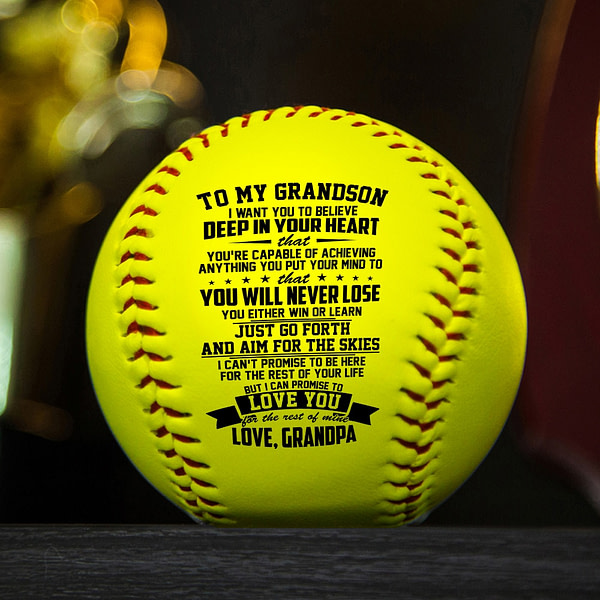 Grandpa To Grandson with a meaningful message printed on the ball softball Birthday Graduation Christmas Gift.