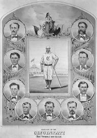 With a salary of approximately $ 11,000, the 1869 Cincinnati Red Stockings were the first professional baseball team.  LIBRARY OF CONGRESS
