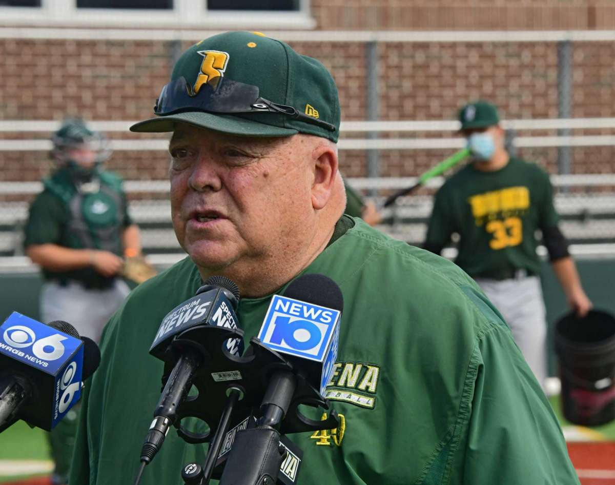 Siena baseball head coach Tony Rossi answers questions from the media during a press conference at Connors Park at Siena College on Monday, September 7, 2020 in Loudonville, NY Siena?  Sports teams are allowed to have training sessions supervised by coaches for the first time.  (Lori Van Buren / Times Union)
