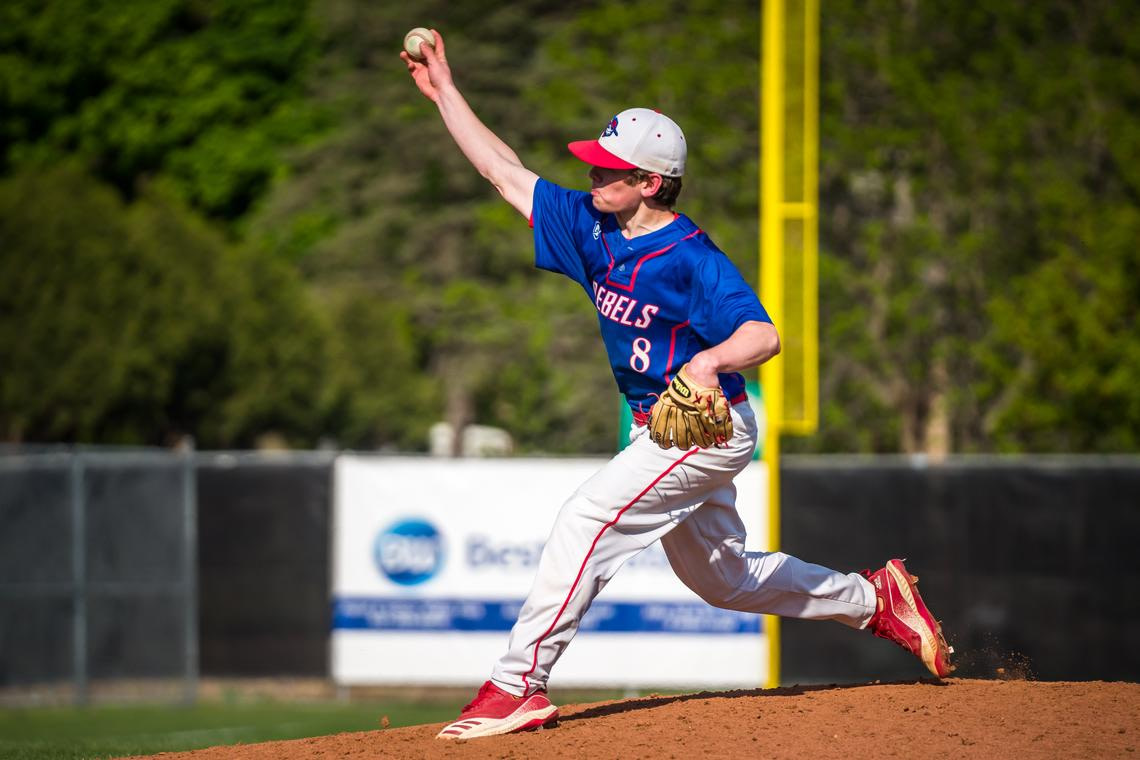 Southland's Gavin Nelson (8) throws a pitch during a baseball game against Schaeffer Academy on Monday, May 17, 2021 at Mayo Field in Rochester.  (Joe Ahlquist / jahlquist@postbulletin.com)