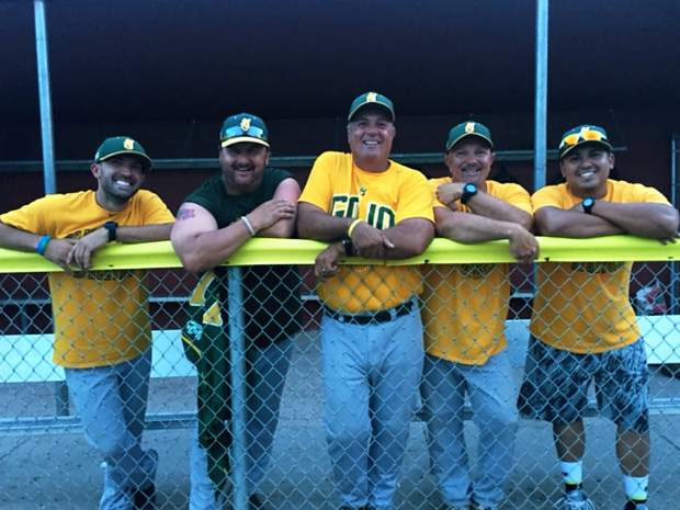 GoJo's coaches pose after their game Saturday against Rocky Mountain. From left to right: Travis Roth, Jim Jorgensen, Mike Huston, Don Huston and Josh Mondragon.