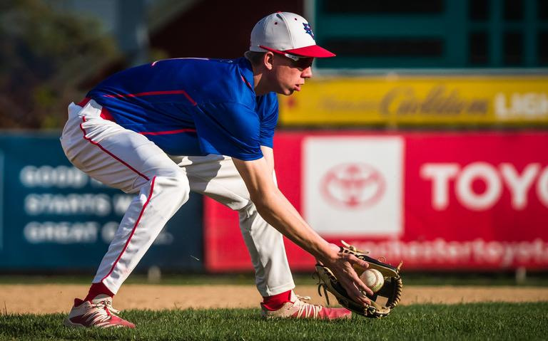 Southland third baseman Harrison Hanna (1) inserts a ground ball before throwing to first base for one out during a baseball game against Schaeffer Academy on Monday 17 May 2021 at Mayo Field in Rochester.  (Joe Ahlquist / jahlquist@postbulletin.com)