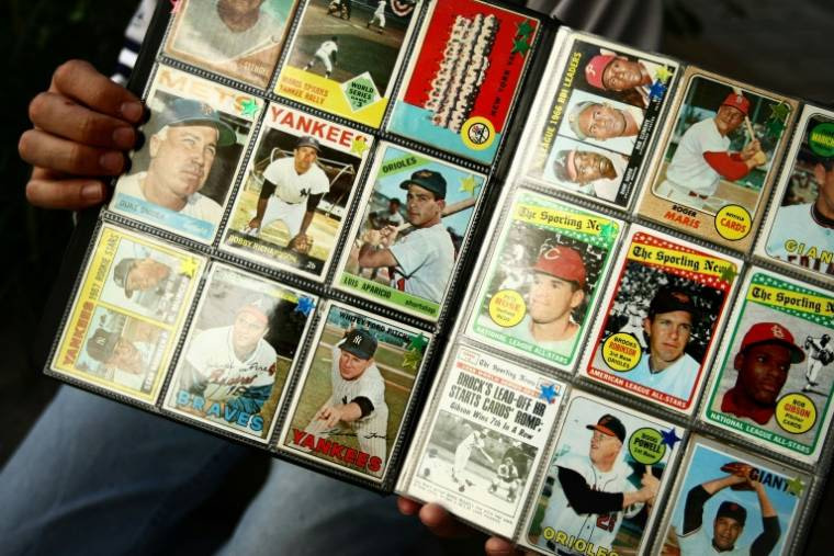 A collection of baseball cards at Yankee Stadium in New York in 2008 (Getty Images North America / Chris McGrath)