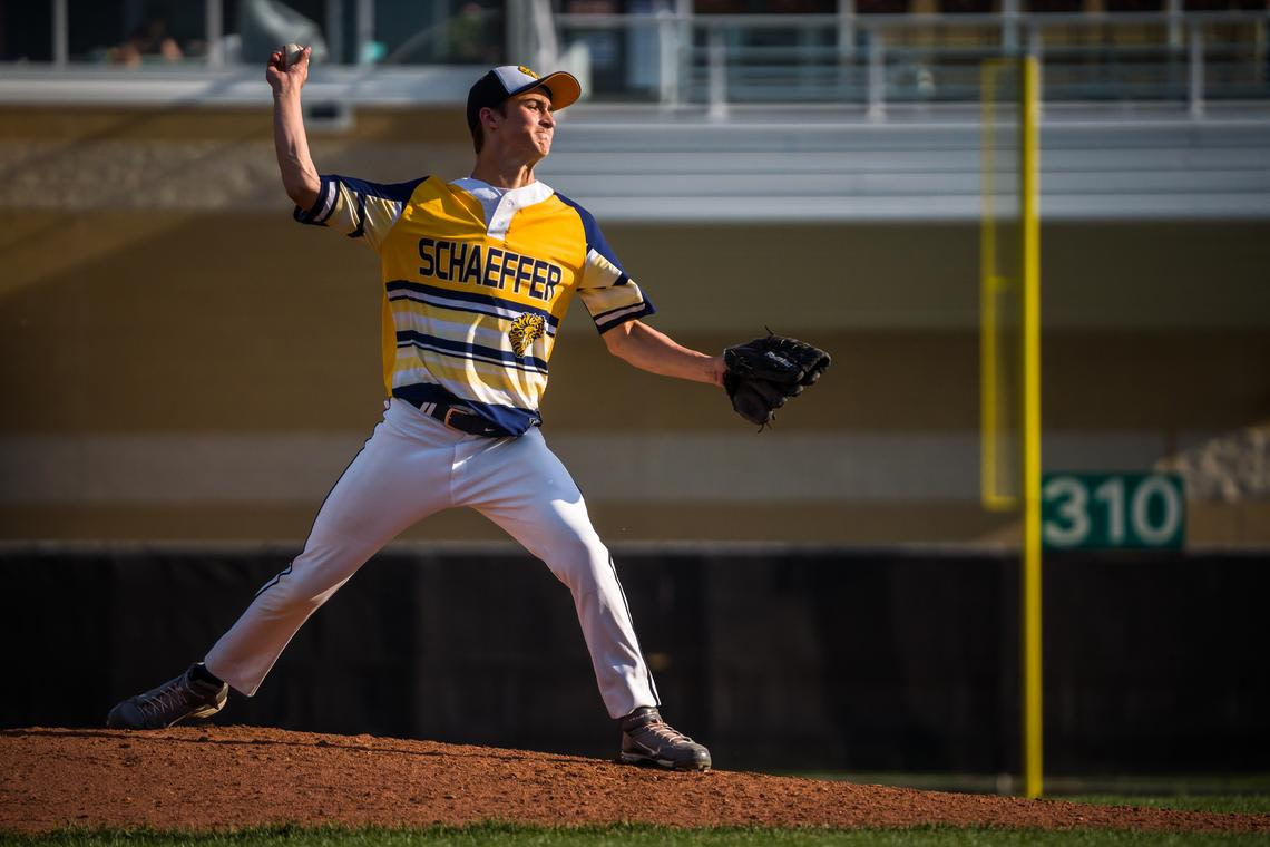 Schaeffer Academy's Micah Lahr (4) throws a pitch during a baseball game against Southland on Monday, May 17, 2021 at Mayo Field in Rochester.  (Joe Ahlquist / jahlquist@postbulletin.com)