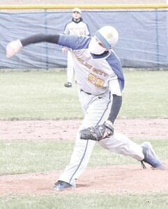 Imlay City's Cole Schwab launches a pitch against the home record during Thursday's match against Brown City.  Photo by Kylee Richardson
