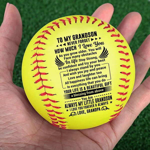 Grandpa To My Grandson, Laugh Love Live Baseball Ball Softball Birthday Graduation Christmas Gift.
