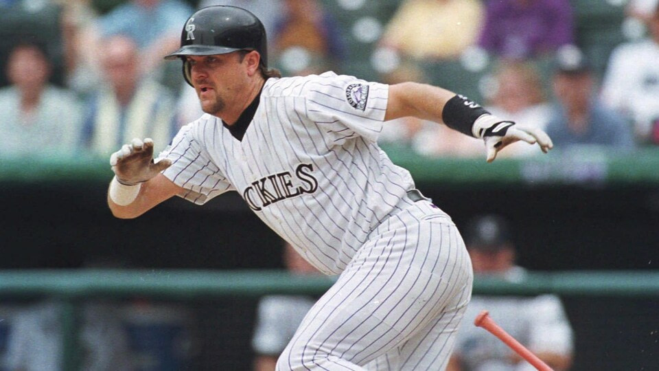 He's on his way to the first pillow after hitting the Colorado Rockies against the Cincinnati Reds.