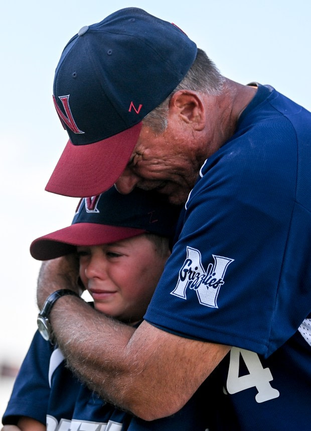 GREELEY, CO - JUNE 10:Northridge head coach Mike Huston reacts after his last game as head coach after the Northridge Grizzlies won their baseball game against the Silver Creek Raptors 9-7 at Darryl Kile Field in Greeley June 10, 2021. Huston is retiring after a decades-long baseball coaching career, including leading the Grizzlies program since its creation. (Alex McIntyre/Staff Photographer)