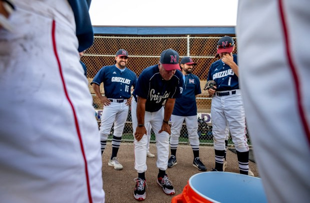 GREELEY, CO - JUNE 10:Northridge head coach Mike Huston speaks to his team after his last game as head coach after the Northridge Grizzlies won their baseball game against the Silver Creek Raptors 9-7 at Darryl Kile Field in Greeley June 10, 2021. Huston is retiring after a decades-long baseball coaching career, including leading the Grizzlies program since its creation. (Alex McIntyre/Staff Photographer)