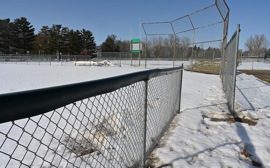 A snow-covered baseball field Friday, March 5, in Oscar Kristofferson Park, waits for players from the new Brainerd Baxter Baseball Association this spring.  Steve Kohls / Brainerd Dispatch